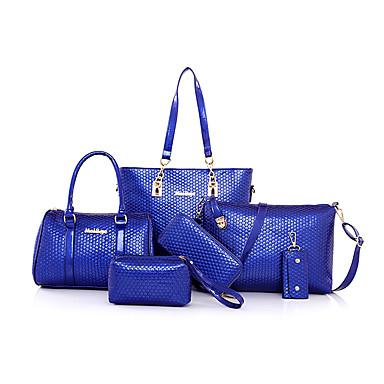 Damen Tragetasche Bag Sets PU Ganzjährig Einkauf Normal Formal Barrel Bag Reißverschluss Schwarz Beige Purpur Rot Blau