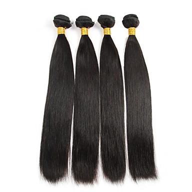 Cabelo Humano Ondulado Cabelo Peruviano Retas 4 Peças tece cabelo