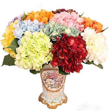 פרחים מלאכותיים 1pcs ענף סגנון ארופאי הורטנזיות פרחים לשולחן