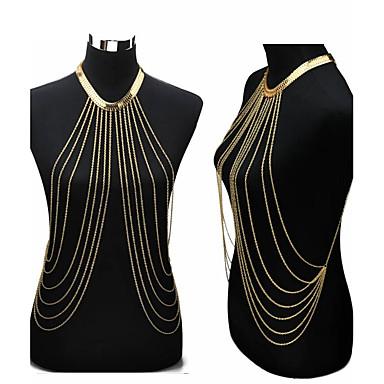 Kvast Mavekæde / Krops Kæde / mavekæde / Harness halskæde - Guldbelagt Tassel, Europæisk, Bikini Dame Gylden Kropssmykker Til Fest / Daglig / Afslappet