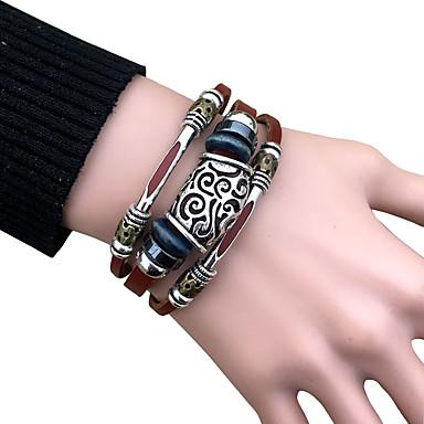 Bracelet Bracelets en cuir Alliage / Cuir Vintage Quotidien / Décontracté Bijoux Cadeau Noir / Brun,1pc
