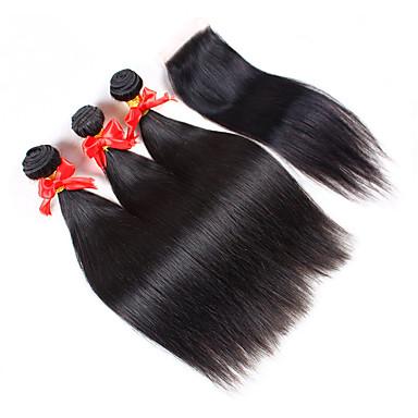 Brasilianisches Haar Haar-Einschlagfaden mit Verschluss Gerade Haarverlängerungen 4 Stück Naturfarbe