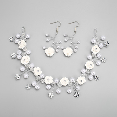 Conjunto de jóias Mulheres Casamento Conjuntos de Joalharia Liga / Strass Imitação de Pérola / Strass Brincos / Tiaras Branco