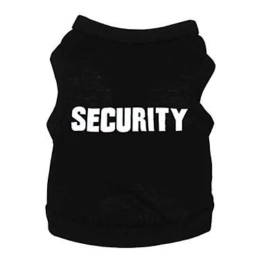Perro Camiseta Ropa para Perro Letra y Número Negro Algodón Disfraz Para mascotas Hombre Mujer Bonito Moda