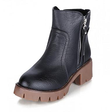 女性用 靴 PUレザー 秋 / 冬 ブーツ ローヒール ジッパー ブラック / グレー / Brown