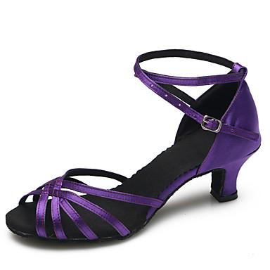 בגדי ריקוד נשים נעליים לטיניות / נעליים מודרניות סטן עקבים אבזם עקב סטילטו מותאם אישית נעלי ריקוד סגול / בבית / אימון