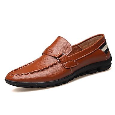Herre-Lær-Flat hælFlate sko-Friluft-Svart Blå Brun Gul