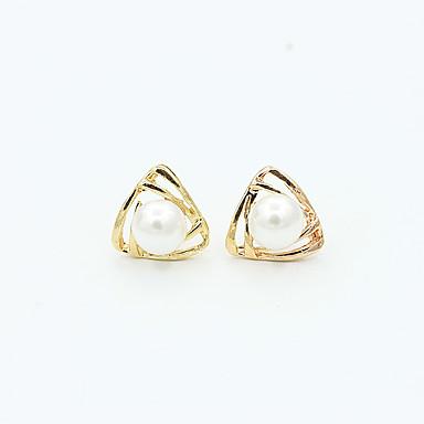 Moda Europeu Imitação de Pérola Liga Triangular Dourado Prata Jóias Para Casamento Festa Diário Casual Esportes 1 par