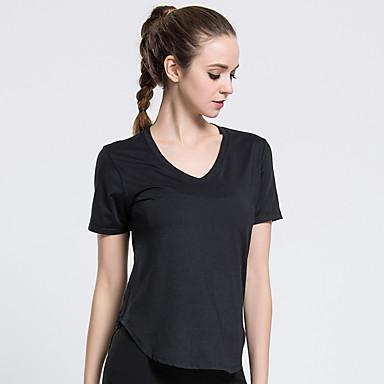 Dame V-hals Yoga Top Sport T-Shirt, Toppe Til Løb, Fitness, Træningscenter Kortærmet Sportstøj Åndbart, Blød Elastisk