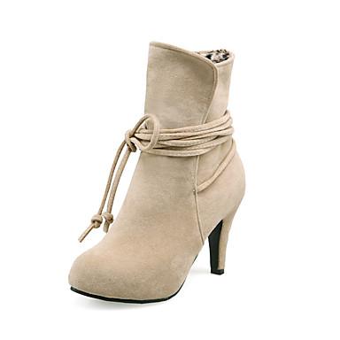 Mulheres Sapatos Courino Outono / Inverno Salto Agulha 10.16-15.24 cm / Botas Curtas / Ankle Bege / Cinzento / Marron