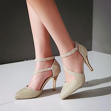 Or Confort Eté Talon pointu Femme Mariage Argent Similicuir à Chaussures Bout Printemps Boucle Talons Chaussures 06090985 Marche Aiguille wqxx46Iztn