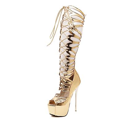 Feminino Botas Botas da Moda Couro Ecológico Verão Casual Botas da Moda Cadarço Salto Agulha Dourado 12 cm ou mais