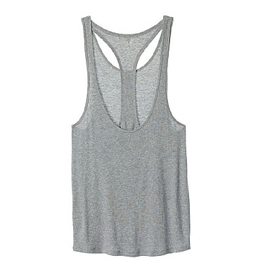 Damen Ringer-Rücken-Kleid Yoga Top - Weiß, Grau Sport Tank Tops / Oberteile Laufen, Fitness, Fitnessstudio Ärmellos Sportkleidung Atmungsaktiv, Weich Dehnbar