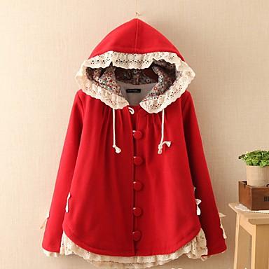 婦人向け カジュアル/普段着 冬 ソリッド コート,シンプル フード付き マルチカラー ウール 長袖 ミディアム