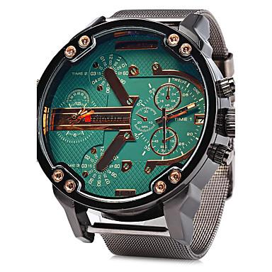 Homens Relógio Militar Quartzo Calendário Dois Fusos Horários Aço Inoxidável Banda Luxo Legal Prata
