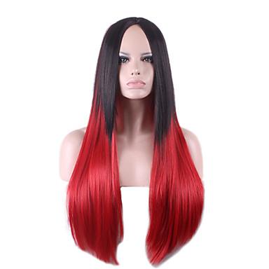 Harajuku svart rød ombre parykk pelucas pelo rette naturlige syntetiske parykker varmebestandig halloween Perruque cosplay parykker