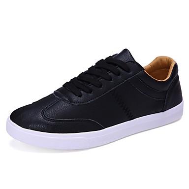 Masculino Sapatos Couro Inverno Primavera Verão Outono Conforto Rasos Sem Salto Cadarço para Casual Branco Preto