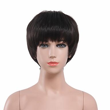 女性 人工毛ウィッグ キャップレス ショート丈 ストレート ブラック コスチュームウィッグ