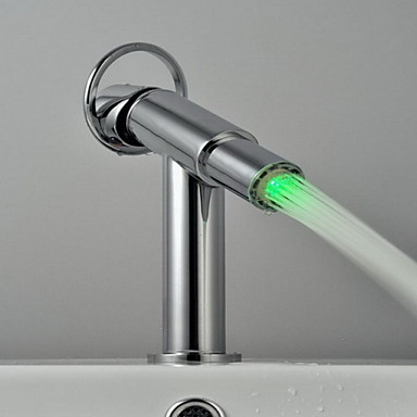 עכשווי סט מרכזי LED שסתום קרמי חור אחד חור ידית אחת אחת כרום , חדר רחצה כיור ברז