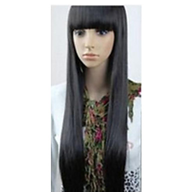 Synthetic Wig Straight With Bangs Black Women's Capless Carnival Wig Halloween Wig Black Wig Very Long Synthetic Hair