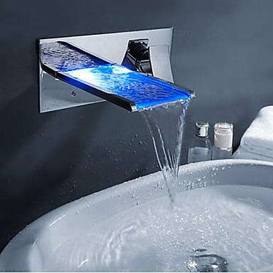 עכשווי סט מרכזי LED / מפל with  שסתום פליז שני חורי ידית אחת for  כרום , ברז למקלחת / ברז לאמבטיה / ברז מטבח / חדר רחצה כיור ברז