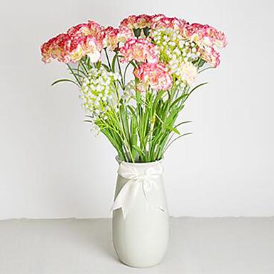 1 1 Ast Polyester / Kunststoff Nelken Tisch-Blumen Künstliche Blumen 23.6.1inch/60cm*3.54.1inch/9cm