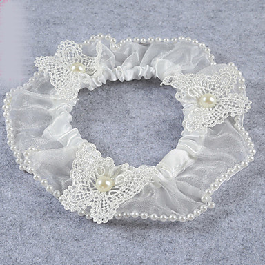 Strumpfband Stretch-Satin Spitze Tüll Schleife Spitze Künstliche Perle Weiß