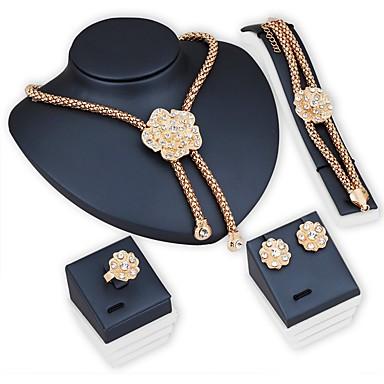 Mulheres Conjunto de jóias - Flor Fashion Incluir Colar / Pulseira / Sets nupcial Jóias Dourado Para Casamento / Festa / Diário / Anéis / Brincos / Colares / Bracelete