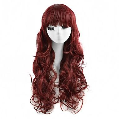 Synthetische Haare Perücken Wellen Kappenlos Cosplay Perücke Lang Rot