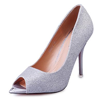 Feminino Sapatos Courino Verão Sandálias Salto Agulha Vazados para Casual Festas & Noite Prata Dourado