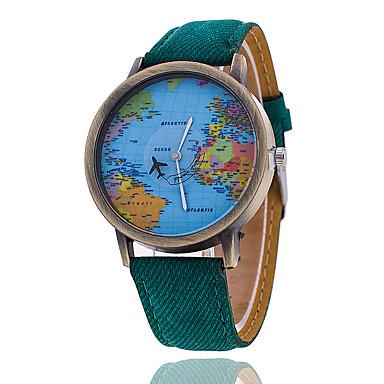 Homens Relógio de Pulso Quartzo Relógio Casual Tecido Banda Padrão Mapa do Mundo Preta Branco