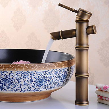 Clássica Conjunto Central Separada Válvula Cerâmica Monocomando e Uma Abertura Bronze Envelhecido, Torneira pia do banheiro