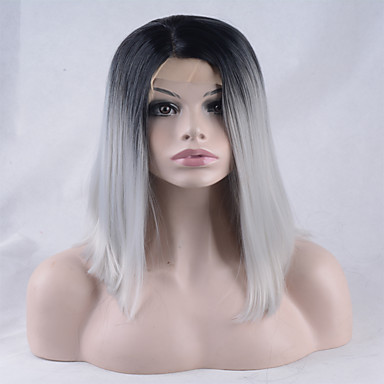 Mulher Perucas sintéticas Frente de Malha Curto Liso Cinzento Cabelo Ombre Perucas para Fantasia