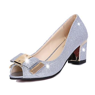 Damen-High Heels-Lässig-PU-Blockabsatz-Absätze-Silber / Gold
