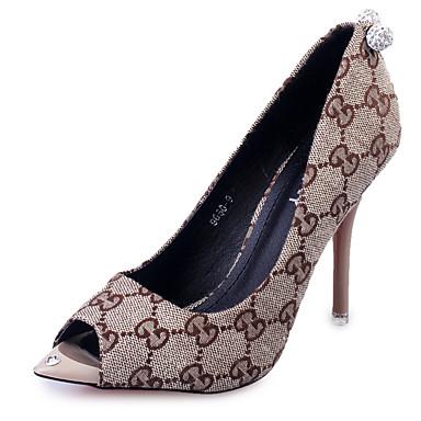 kvinners sko kunstlær sommer hæler / peep toe sandaler kontor& karriere / uformell stiletthæl hul ut, svart