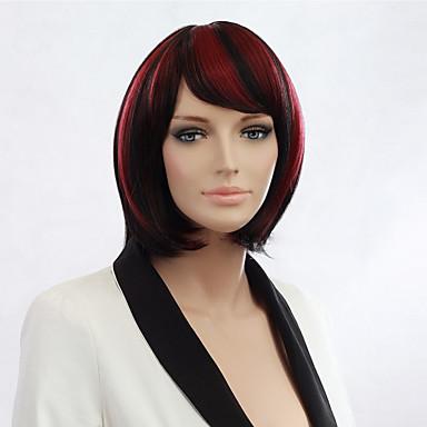 נשים פאות סינתטיות ישר תספורת בוב פאה שחורה פאות תלבושות