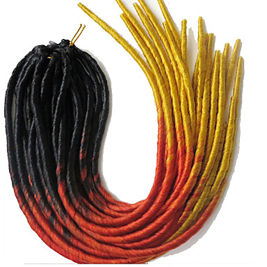 dreadlocks La Havane Faux Dreads Crochet faux dreads Dreadlock Extensions Kanekalon Orange Extensions de cheveux 51cm Cheveux Tressée