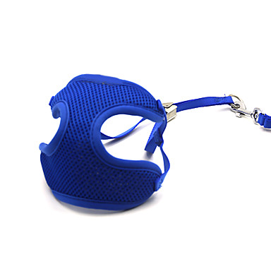 Kat Hund Seler Hundebånd Justerbare / Uttrekkbar Pustende Ensfarget Net Blå