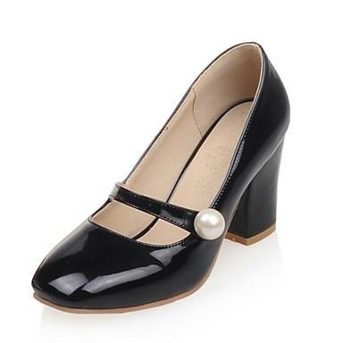Feminino Sapatos Couro Envernizado Primavera Verão Outono Inverno Salto Grosso Presilha Para Social Festas & Noite Branco Preto Vermelho