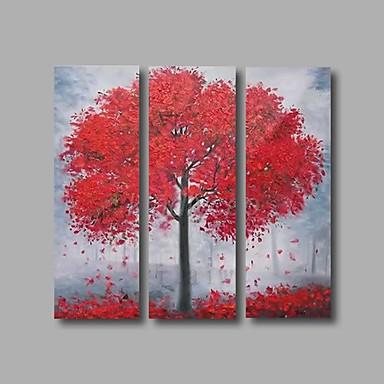 מצויר ביד פרחוני/בוטני ציורי שמן,מודרני שלושה פנלים בד ציור שמן צבוע-Hang For קישוט הבית