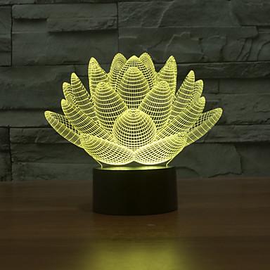 superbe 3 d forme ornement lumière des ménages de lotus nuit de changement de couleur de lumière