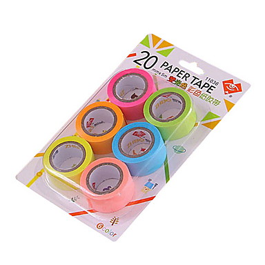 20mm diy kleurrijke decoratie tape 6pcs / set