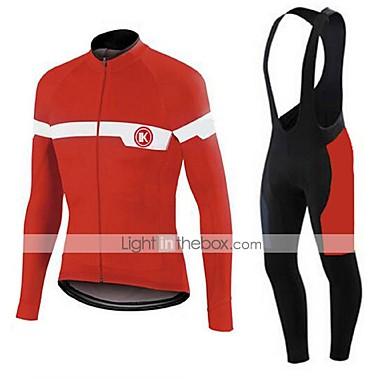 KEIYUEM Langärmelige Fahrradtrikot mit Trägerhosen Unisex Fahhrad Trikot + Hosen/Radtrikot+Lange Radhose Kleidungs-Sets/Anzüge