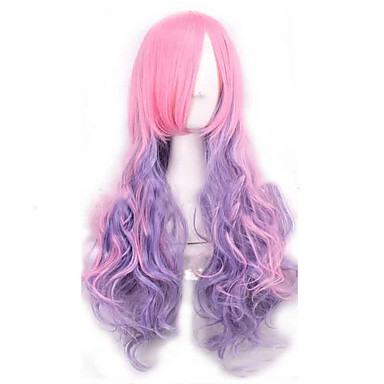 vann bølge hot fashion syntetiske parykker rosa og lilla blandet farge Ombre lang cosplay lolita stil parykker