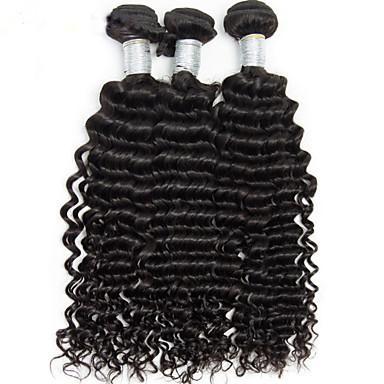 Menneskehår Vevet Brasiliansk hår Dyp Bølge 1 Deler hår vever