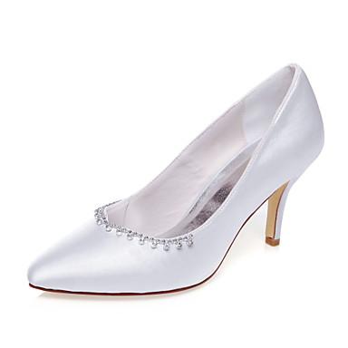 Damen Schuhe Seide Frühling Sommer Stöckelabsatz Kette für Hochzeit Kleid Party & Festivität Weiß