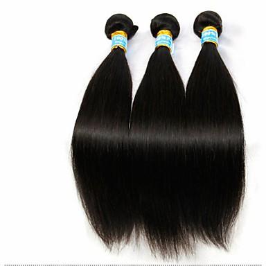 3 пучки бразильский девственные волосы прямо с закрытием шнурок необработанного человеческого волоса ткет и закрытие свободный / средний /