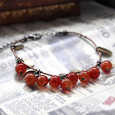 Damen Strang-Armbänder nette Art Modisch Perlenbesetzt Achat Stoff Kreisförmig Kirsche Frucht Schmuck Alltag Normal Modeschmuck