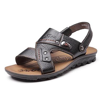 Homme Chaussures Cuir Eté Sandales Marche Talon Plat Cloutée pour Décontracté De plein air Noir Jaune Marron