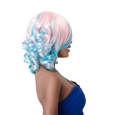 Synthetische Haare Perücken Locken Mit Pony Kappenlos Karnevalsperücke Halloween Perücke Party-Perücke Kurz Rosa